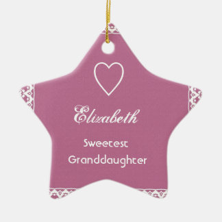 Sweetest Granddaugher Pink and White Lace Gift Ceramic Ornament