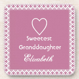 Sweetest Granddaugher Pink and White Lace Gift Coaster