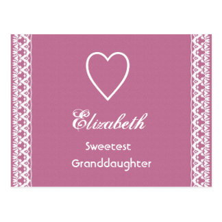 Sweetest Granddaugher Pink and White Lace Gift Post Cards