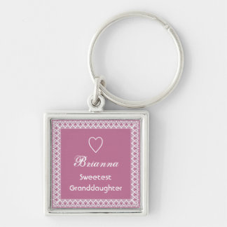 Sweetest Granddaughter Custom Name Pink Lace V01 Key Chain