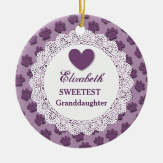 Sweetest Granddaughter Lace Purple Paw Prints V02 Ceramic Ornament