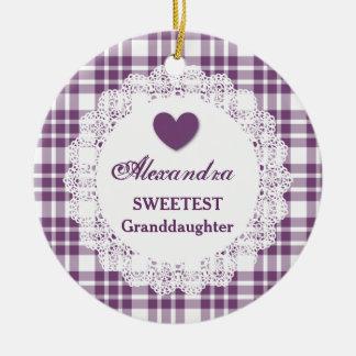 Sweetest Granddaughter Lace Purple Plaid V8 Ceramic Ornament