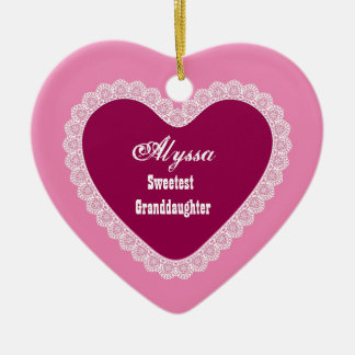 Sweetest Granddaughter Lace with Hues of Pink V2 Ceramic Ornament