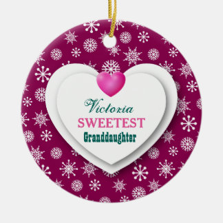 Sweetest Granddaughter Maroon Snowflakes A12 Ceramic Ornament