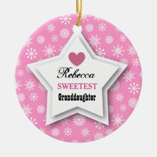 Sweetest Granddaughter Pink White Snowflakes C09 Ceramic Ornament