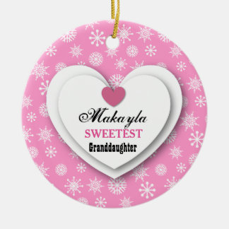 Sweetest Granddaughter Pink White Snowflakes C11 Ceramic Ornament
