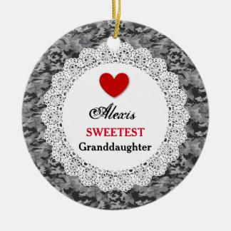 Sweetest Granddaughter Silver Black Camo A5 Ceramic Ornament