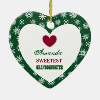 Sweetest Granddaughter Snowflakes and Heart Z15 Ceramic Ornament