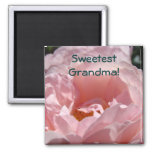 Sweetest Grandma! magnet gifts Pink Rose Flower