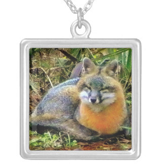 Sweetest Gray Fox Sleeping Custom Necklace