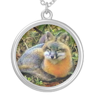 Sweetest Gray Fox Sleeping Round Pendant Necklace