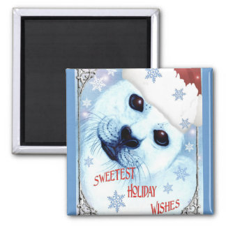 Sweetest Holiday Christmas Wishes 2 Inch Square Magnet