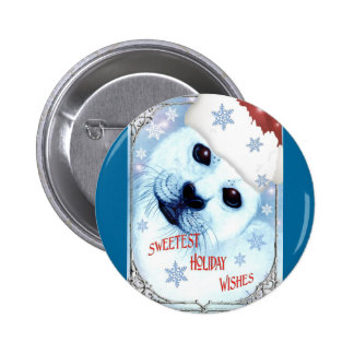 Sweetest Holiday Christmas Wishes Pinback Button