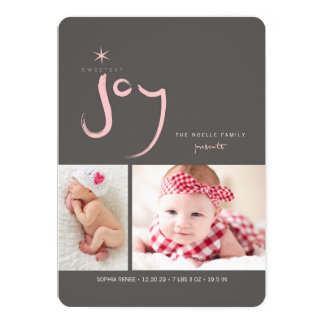 Sweetest Joy Cute Baby First Christmas Photo Card