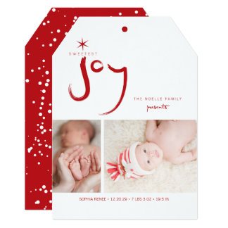 Sweetest Joy Cute Baby First Christmas Photo Card