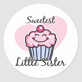 Sweetest Little Sister Classic Round Sticker