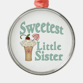 Sweetest Little Sister Malt Metal Ornament