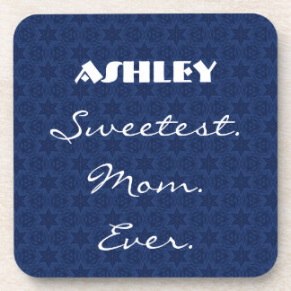 Sweetest Mom Ever Navy Blue Star Pattern Gift Item Drink Coaster