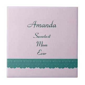 Sweetest Mom Ever Pink and Green Lace Gift Item Tile