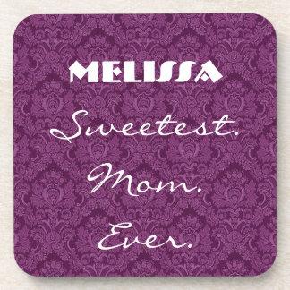 Sweetest Mom Ever Purple Damask Gift Item Drink Coaster