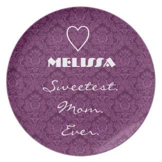 Sweetest Mom Ever Purple Damask Gift Item Plates