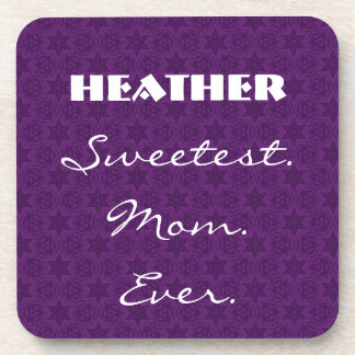 Sweetest Mom Ever Purple Star Pattern Gift Item Drink Coaster