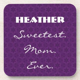 Sweetest Mom Ever Purple Star Pattern Gift Item Drink Coaster