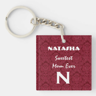 Sweetest Mom Red Monogram Custom Name V003 Keychain