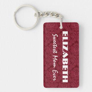 Sweetest Mom Red Monogram Custom Name V007 Keychain
