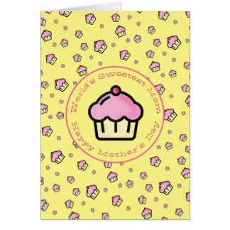 Sweetest Mom - Yellow Cupcake Pattern Mothers Day
