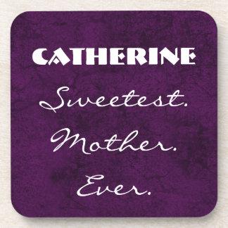 Sweetest. Mother. Ever. Custom Name Purple White Coaster