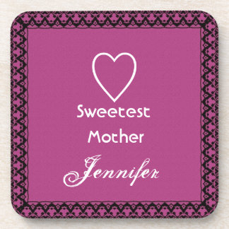 Sweetest Mother Magenta and White Lace Gift Coaster