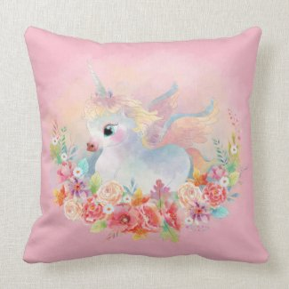 Sweetest Newborn Unicorn Flower Bed Throw Pillow