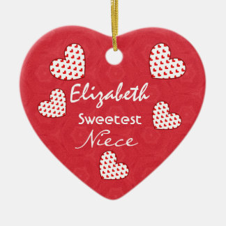 Sweetest NIECE Red Hearts V03 Ceramic Ornament