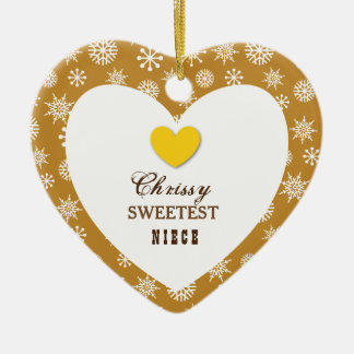 Sweetest Niece Snowflakes and Heart Z17 Ceramic Ornament