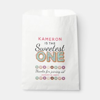 SWEETEST ONE Blue Iced Donuts Baby First Birthday Favor Bag
