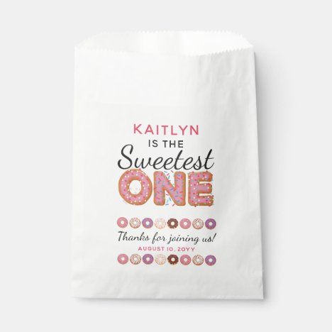 SWEETEST ONE Pink Iced Donuts Baby First Birthday Favor Bag