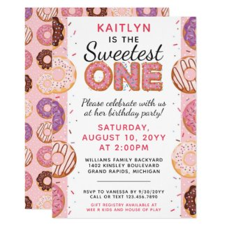 SWEETEST ONE Pink Iced Donuts Baby First Birthday Invitation