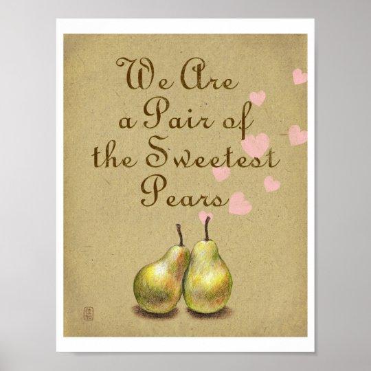 Sweetest Pears Illustration Print - Lettersize