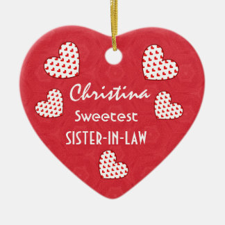 Sweetest SISTER IN LAW Red Hearts V09 Ceramic Ornament