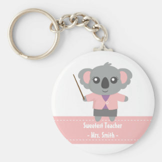 Sweetest Teacher, Cute Koala Bear, Appreciation Basic Round Button Keychain