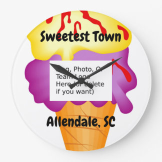 """Sweetest Town"" - Allendale, South Carolina Large Clock"
