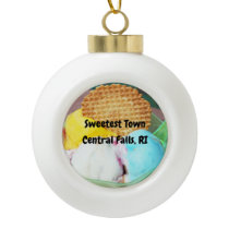 """Sweetest Town"" - Central Falls, Rhode Island Ceramic Ball Christmas Ornament"