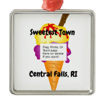 """Sweetest Town"" - Central Falls, Rhode Island Metal Ornament"