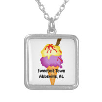 """Sweetest Town"" Design For Abbeville, Alabama Silver Plated Necklace"