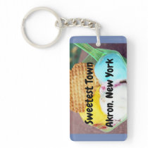 """Sweetest Town"" Design For Akron, New York Keychain"