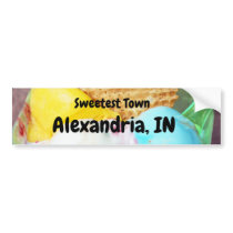 """Sweetest Town"" Design For Alexandria, Indiana Bumper Sticker"
