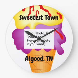 """Sweetest Town"" Design For Algood, Tennessee Large Clock"