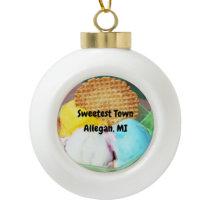 """Sweetest Town"" Design For Allegan, Michigan Ceramic Ball Christmas Ornament"