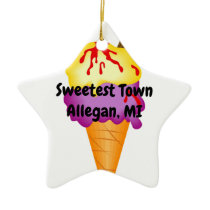 """Sweetest Town"" Design For Allegan, Michigan Ceramic Ornament"